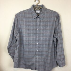 Calvin Klein Steel+ Dress Shirt Windowpane Plaid